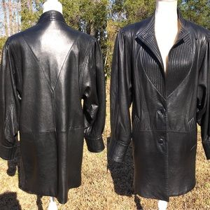 Wilsons 80's Style Black Leather Coat Size M